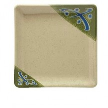 "GET Enterprises 252-18-TD Japanese Traditional Melamine Square Plate 7"" x 7"" - 1 doz"