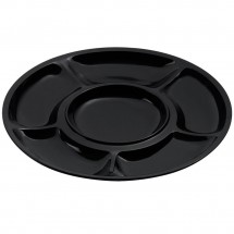 GET Enterprises APS-6-BK Milano Black Round 6 Compartment Plate - 1 doz