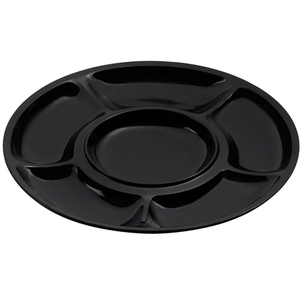 GET Enterprise APS-6-BK Black Milano 6 Compartment Plate - 1 doz