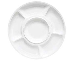 GET Enterprises APS-6-W Milano White Round 6 Compartment Plate - 1 doz