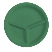 "GET Enterprises CP-10-FG Diamond Mardi Gras Rainforest Green 3-Compartment Plate 10-1/4"" - 1 doz"