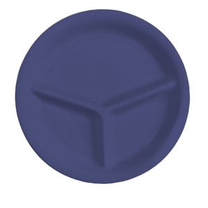 "GET Enterprises CP-10-PB Diamond Mardi Gras Peacock Blue 3-Compartment Plate 10-1/4"" - 1 doz"