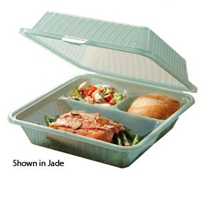 "GET Enterprises EC-09-1 3 Compartments Eco-Takeouts Container 9"" x 9"" x 3-1/2"" - 1 doz"