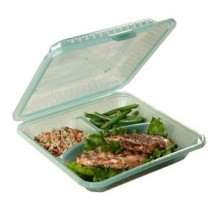 "GET Enterprises EC-12-1 Reusable 3 Compartments Eco-Takeouts Container 9"" x 9"" x 2-3/4"" - 1 doz"