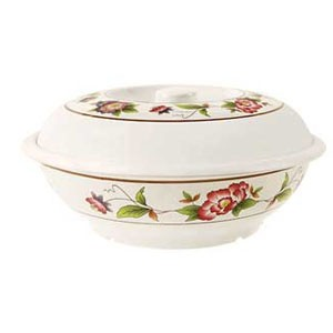 GET Enterprises KT-050-TR Tea Rose Melamine Bowl with Lid 70 oz.
