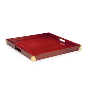 "GET Enterprises LUX-2121-M Luxury Square Wood Tray 21"" - 2 pcs"