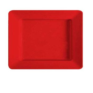 "GET Enterprises ML-11-RSP Red Sensation Rectangular Deep Plate 12"" x 10"" - 1 doz"