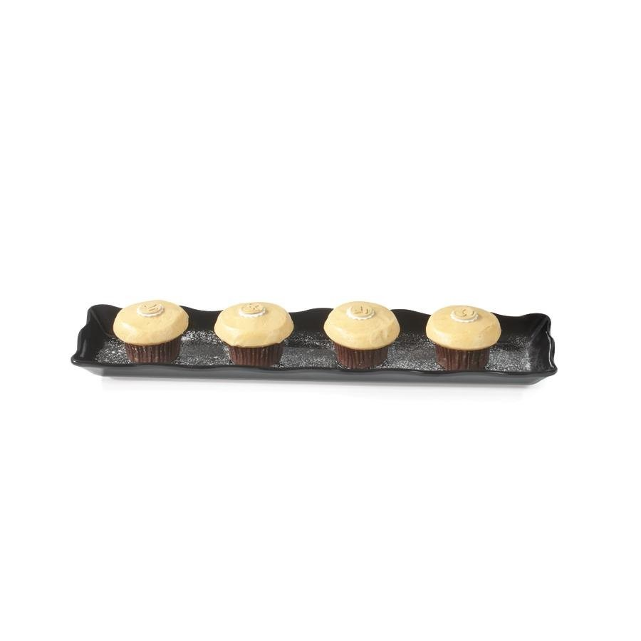"GET Enterprises ML-128-BK Bake and Brew Black Rectangular Display Tray 13-1/2"" x 5-1/4"" - 1 doz"