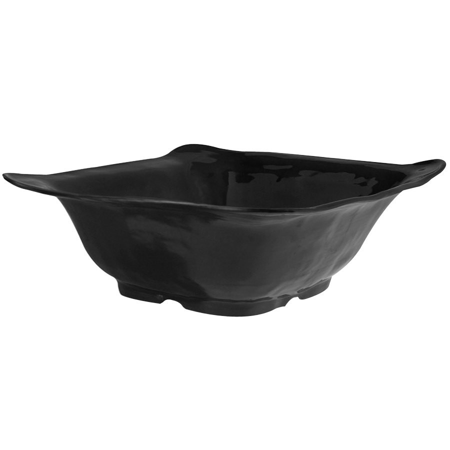 GET Enterprises ML-131-BK New Yorker Black Melamine Square Bowl 4.25 Qt. - 3 pcs