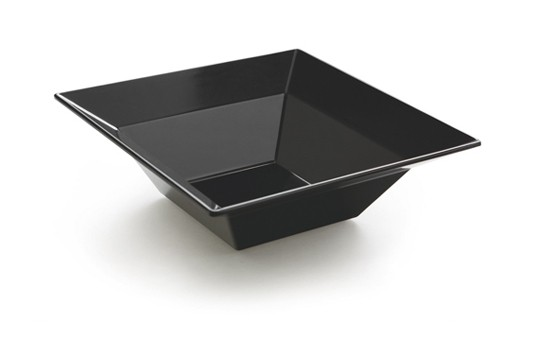 GET Enterprises ML-245-BK Siciliano Black Square Bowl 3.8 Qt. - 3 pcs
