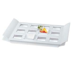 "GET Enterprises ML-292-W San Michele White Melamine Display Tray with Square Slots 18"" x 13"""