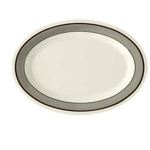 "GET Enterprises OP-120-CA Diamond Cambridge Melamine Oval Platter 12"" x 9"" - 1 doz"