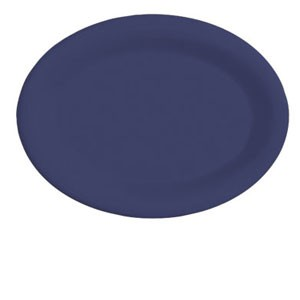 "GET Enterprises OP-120-PB Diamond Mardi Gras Peacock Blue Oval Platter 12"" x 9"" - 1 doz"