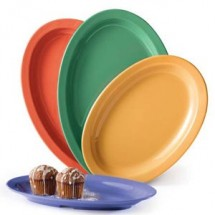 "GET Enterprises OP-612-MIX Diamond Mardi Gras Assorted Colors Melamine Oval Platter 11-3/4"" x 8-1/4"" - 2 doz"