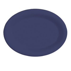 "GET Enterprises OP-950-PB Diamond Mardi Gras Peacock Blue Oval Platter 9-3/4"" x 7-1/4"" - 2 doz"
