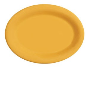 "GET Enterprises OP-950-TY Diamond Mardi Gras Tropical Yellow Oval Platter 9-3/4"" x 7-1/4"" - 2 doz"