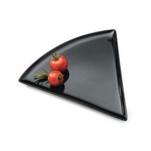 "GET Enterprises PZ-85-BK Creative Table Black Triangle Pizza Plate 8-3/4"" x 9"" - 2 doz"