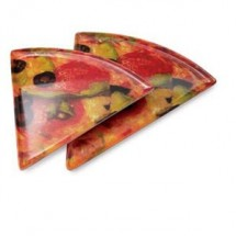 "GET Enterprises PZ-85-PZ Creative Table Triangle Pizza Plate 8-3/4"" x 9"" - 2 doz"
