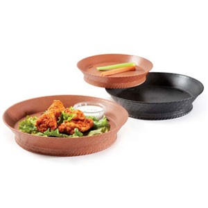 "GET Enterprises RB-880-TER Terracotta Round Plastic Fast Food Basket with Base 10-1/2"" - 1 doz"