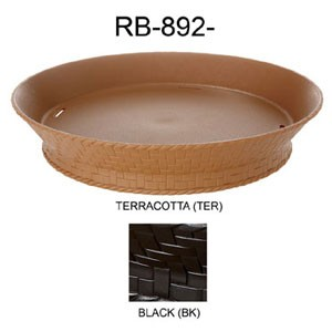 "GET Enterprises RB-894-TER Terracotta Round Plastic Fast Food Basket with Base 7.27"" - 1 doz"