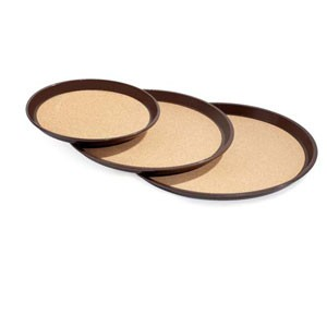 "GET Enterprises RCT-16-BR Brown Round Cork Lined Tray 16"" - 1 doz"