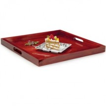 "GET Enterprises RST-2020-M Mahogany Square Wood Tray 21"" - 2 pcs"