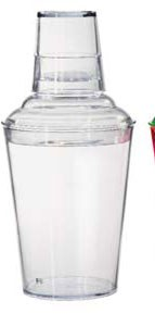 Get Enterprises SH-175-1-CL Clear Plastic 3 PC-Shaker Set 17.5 oz. - 2 doz
