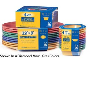 "GET Enterprises SP-NP-6-MIX Diamond Mardi Gras Assorted Colors Narrow Rim Plate 6-1/2"" - 4 doz"
