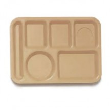 "GET Enterprises TL-153 Plastic Left Hand 6-Compartment Tray 10"" x 14"" - 1 doz"