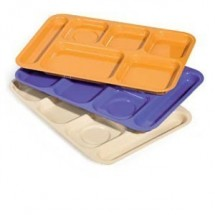 "GET Enterprises TR-152 ABS Plastic Right Hand 6-Compartment Tray 10"" x 14-1/2"" - 1 doz"