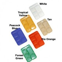"GET Enterprises TR-153 Plastic Right Hand 6-Compartment Tray 10"" x 14-1/2"" - 1 doz"