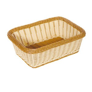 "GET Enterprises WB-1518-TT Designer Polyweave Two Tone Rectangular Basket 15"" x 11"" x 5"" - 1/2 doz"