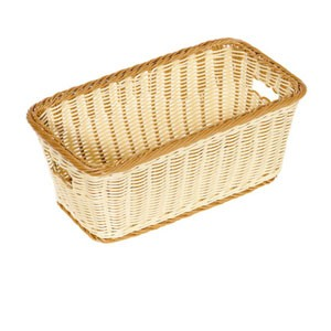 "GET Enterprises WB-1520-TT Designer Polyweave Two Tone Rectangular Basket 16"" x 9"" x 6-3/4"" - 1/2 doz"