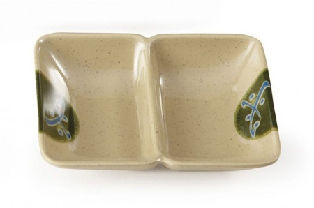 GET Enterprises 037-TD Japanese Traditional Two Compartment Sauce Dish 1 oz.