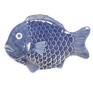 "GET Enterprises 370-10-BL Creative Table Blue Fish Platter 10"" x 7"" - 1 doz"