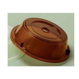 """GET Enterprises CO-90-A Amber Plate Cover for 8.25"""" to 9"""" Round Plates - 1 doz"""