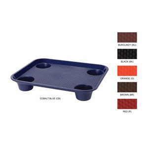 """GET Enterprises FT-20 Plastic Fast Food Tray with Cup Holders 17"""" x 14"""" - 1 doz"""