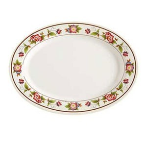 "GET Enterprises M-408-TR Tea Rose Melamine Oval Platter 8"" x 5-3/4"" - 1 doz"