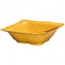 GET Enterprises ML-131-TY New Yorker Tropical Yellow Melamine Square Bowl 4.25 Qt. - 3 pcs