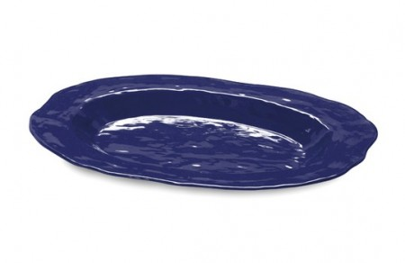 "GET Enterprises ML-144-CB New Yorker Cobalt Blue Melamine Oval Platter 21"" x 15"" - 3 pcs"