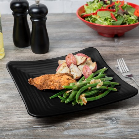 "GET Enterprises ML-63-BK Milano Black Square Plate 10-1/4"" - 1 doz"