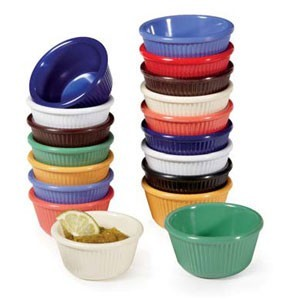 GET Enterprises RM-401-MIX Pack of Mardi Gras Colors Mix Fluted Ramekin 4 oz. - 4 doz