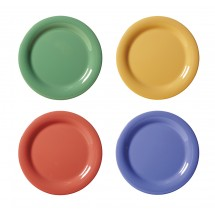 "GET Enterprises WP-10-MIX Diamond Mardi Gras Assorted Colors Wide Rim Plate 10-1/2"" - 1 doz"
