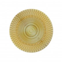 The Jay Companies 1470355 Round Genesis Gold Glass Charger Plate 13""