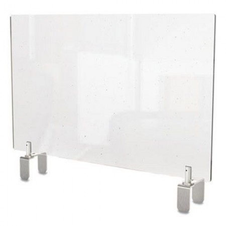 """Ghent Clear Partition Extender with Attached Clamp, 29"""" W x 4"""" D x 18"""" H, Thermoplastic Sheeting"""