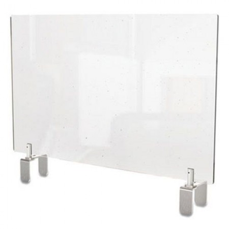 """Ghent Clear Partition Extender with Attached Clamp, 36"""" W x 4"""" D x 18"""" H, Thermoplastic Sheeting"""