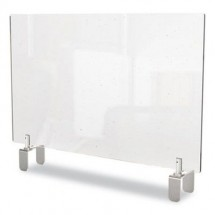 """Ghent Clear Partition Extender with Attached Clamp, 29"""" W x 4"""" D x 24"""" H, Thermoplastic Sheeting"""