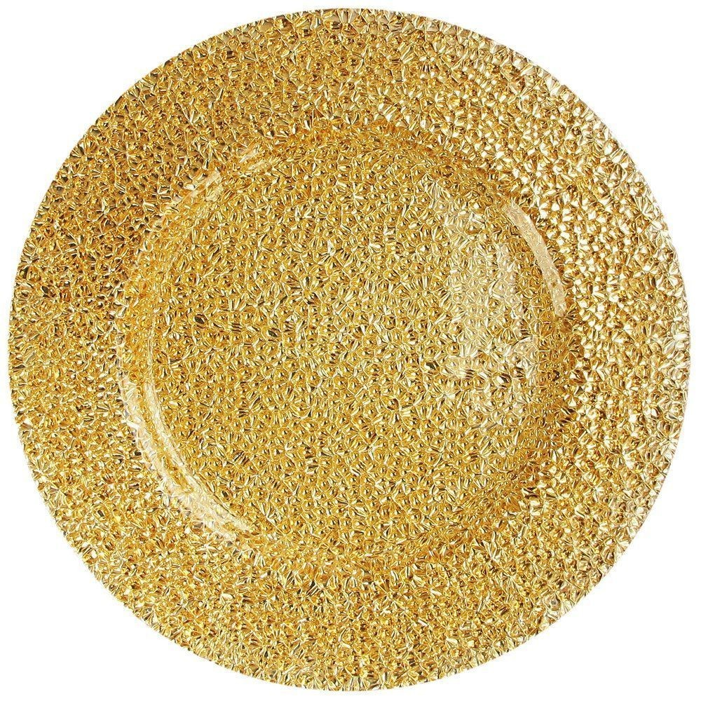 The Jay Companies 1470341 Round Glamour Gold Glass Charger Plate 13""
