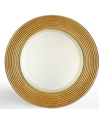 """The Jay Companies 1520630 Round Gold Glitter Glass Charger Plate 13"""""""