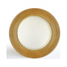 The Jay Companies 1520630 Round Gold Glitter Glass Charger Plate 13""